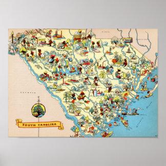 South Carolina Vintage Map Print