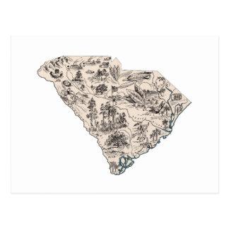 South Carolina Vintage Picture Map Postcard