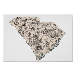 South Carolina Vintage Picture Map Poster