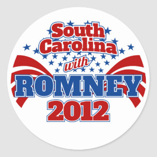 South Carolina with Romney 2012 Classic Round Sticker