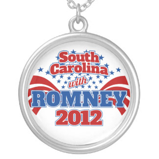 South Carolina with Romney 2012 Round Pendant Necklace