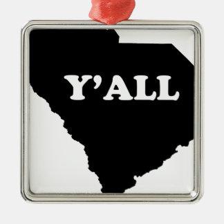 South Carolina Yall Metal Ornament
