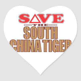South China Tiger Save Heart Sticker