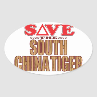South China Tiger Save Oval Sticker