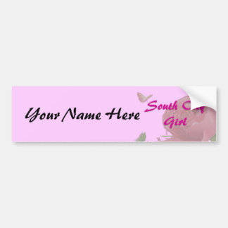 South City Girl w/ Butterflies and Rose Bumper Sticker
