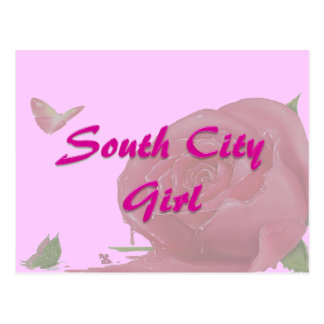 South City Girl w/ Butterflies and Rose Postcard
