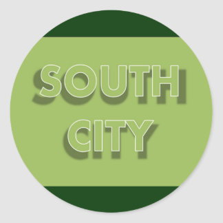 South City in Green Classic Round Sticker
