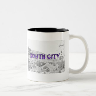 South City - The Mountain Background Sketch Two-Tone Coffee Mug