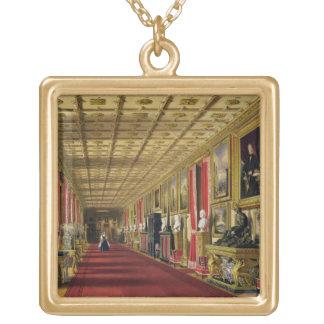 South Corridor, Windsor Castle, 1838 (chromolitho) Gold Plated Necklace