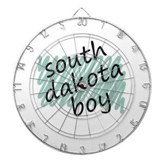 South Dakota Boy on Child's South Dakota Map Dartboard With Darts