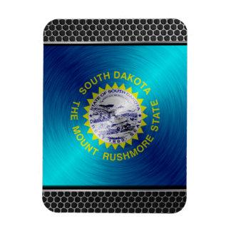 South Dakota brushed metal flag Magnet