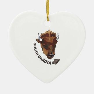 SOUTH DAKOTA BUFFALO Double-Sided HEART CERAMIC CHRISTMAS ORNAMENT