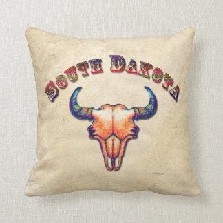 South Dakota Buffalo Skull Imitation Leather Throw Pillow