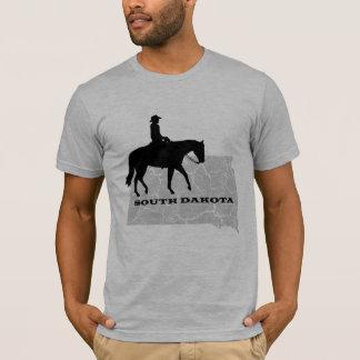 South Dakota Cowboy Grunge Map Mens Grey T-shirt