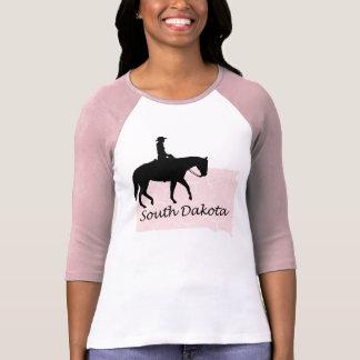 South Dakota Cowgirl Grunge Map Ladies Pink Raglan T-Shirt