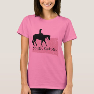 South Dakota Cowgirl Grunge Map Ladies Pink Tshirt