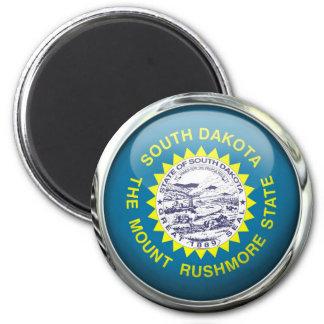 South Dakota Flag Glass Ball Magnet