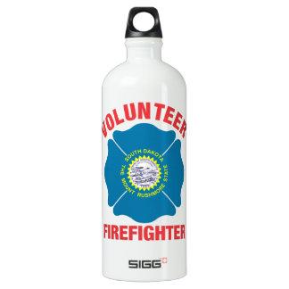 South Dakota Flag Volunteer Firefighter Cross Water Bottle