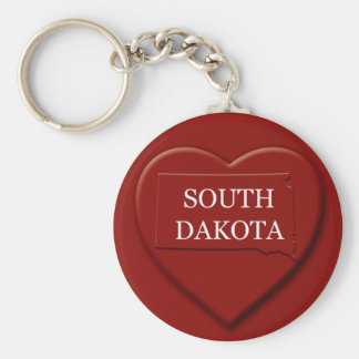 South Dakota Heart Map Keychain