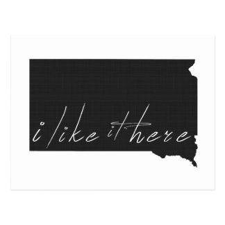 South Dakota I Like It Here State Silhouette Black Postcard