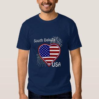 South Dakota July 4th Fireworks Heart Flag Navy Tee Shirt