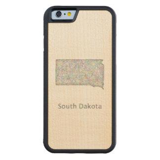 South Dakota map Carved® Maple iPhone 6 Bumper Case