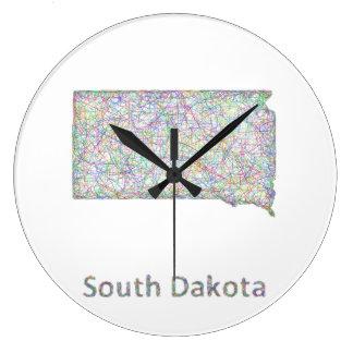 South Dakota map Large Clock