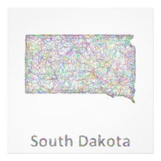 South Dakota map Photo Print