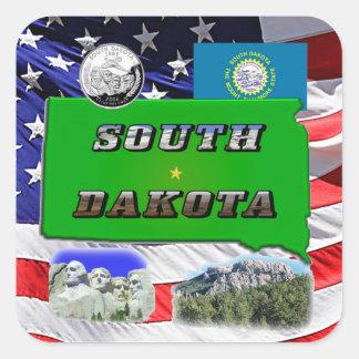 South Dakota Map, Photo Text Square Sticker