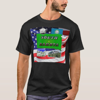 South Dakota Map, Photo Text T-Shirt