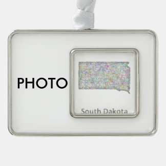 South Dakota map Silver Plated Framed Ornament