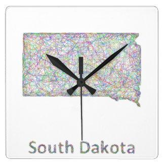 South Dakota map Square Wall Clock