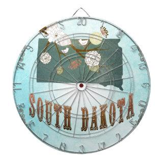 South Dakota Map With Lovely Birds Dartboard With Darts