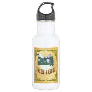 South Dakota Map With Lovely Birds Stainless Steel Water Bottle