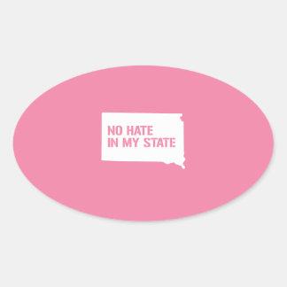 South Dakota: No Hate In My State Oval Sticker