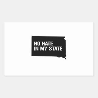 South Dakota: No Hate In My State Rectangular Sticker