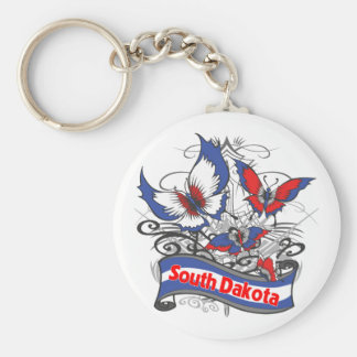 South Dakota Patriotism Butterfly Keychain