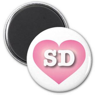 South Dakota pink fade heart 2 Inch Round Magnet