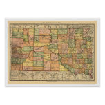 South Dakota Railroad Map 1892 Poster