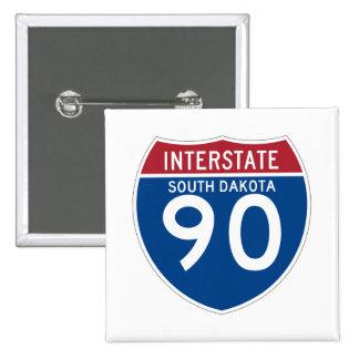 South Dakota SD I-90 Interstate Highway Shield - Pinback Button