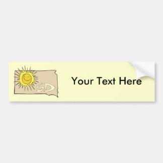 South Dakota SD Map Cartoon Smiling Sun Art Car Bumper Sticker