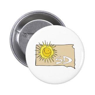 South Dakota SD Map Cartoon Smiling Sun Art Button