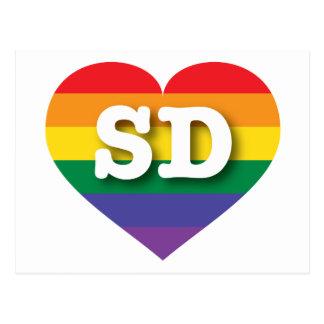 South Dakota SD rainbow pride heart Postcard