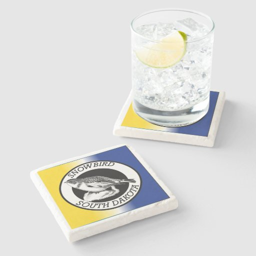 South Dakota Snowbird Shield Stone Beverage Coaster Zazzle