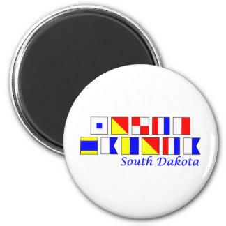South Dakota spelled in nautical flag alphabet Magnet
