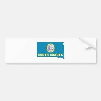 South Dakota State Flag and Map Car Bumper Sticker