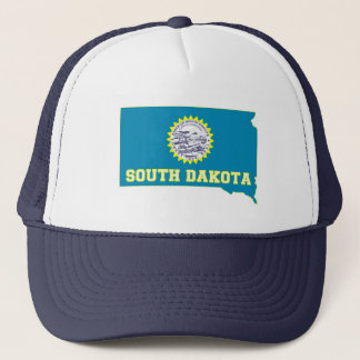 South Dakota State Flag and Map Trucker Hat