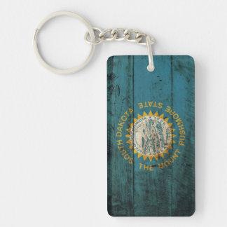 South Dakota State Flag on Old Wood Grain Double-Sided Rectangular Acrylic Keychain