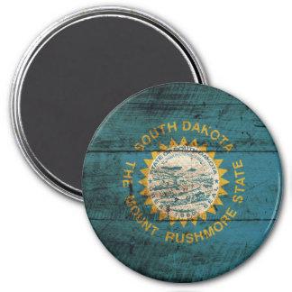 South Dakota State Flag on Old Wood Grain Magnet