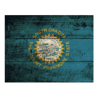 South Dakota State Flag on Old Wood Grain Post Cards